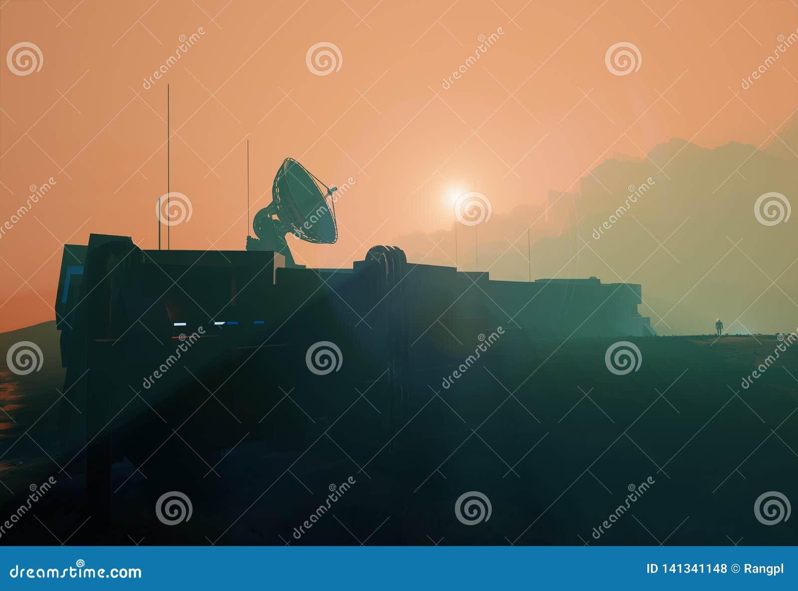 De ruimteschotel van de basisradar in de nevelige zonsondergang van Mars
