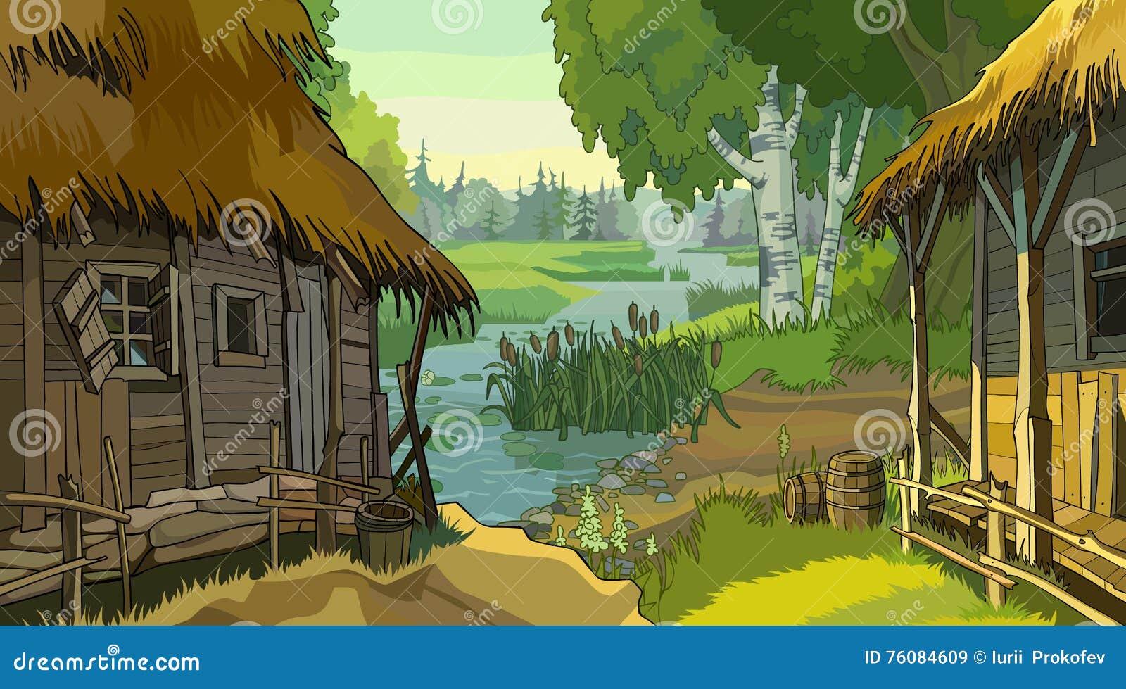 De rustieke hut van het beeldverhaallandschap door de rivier