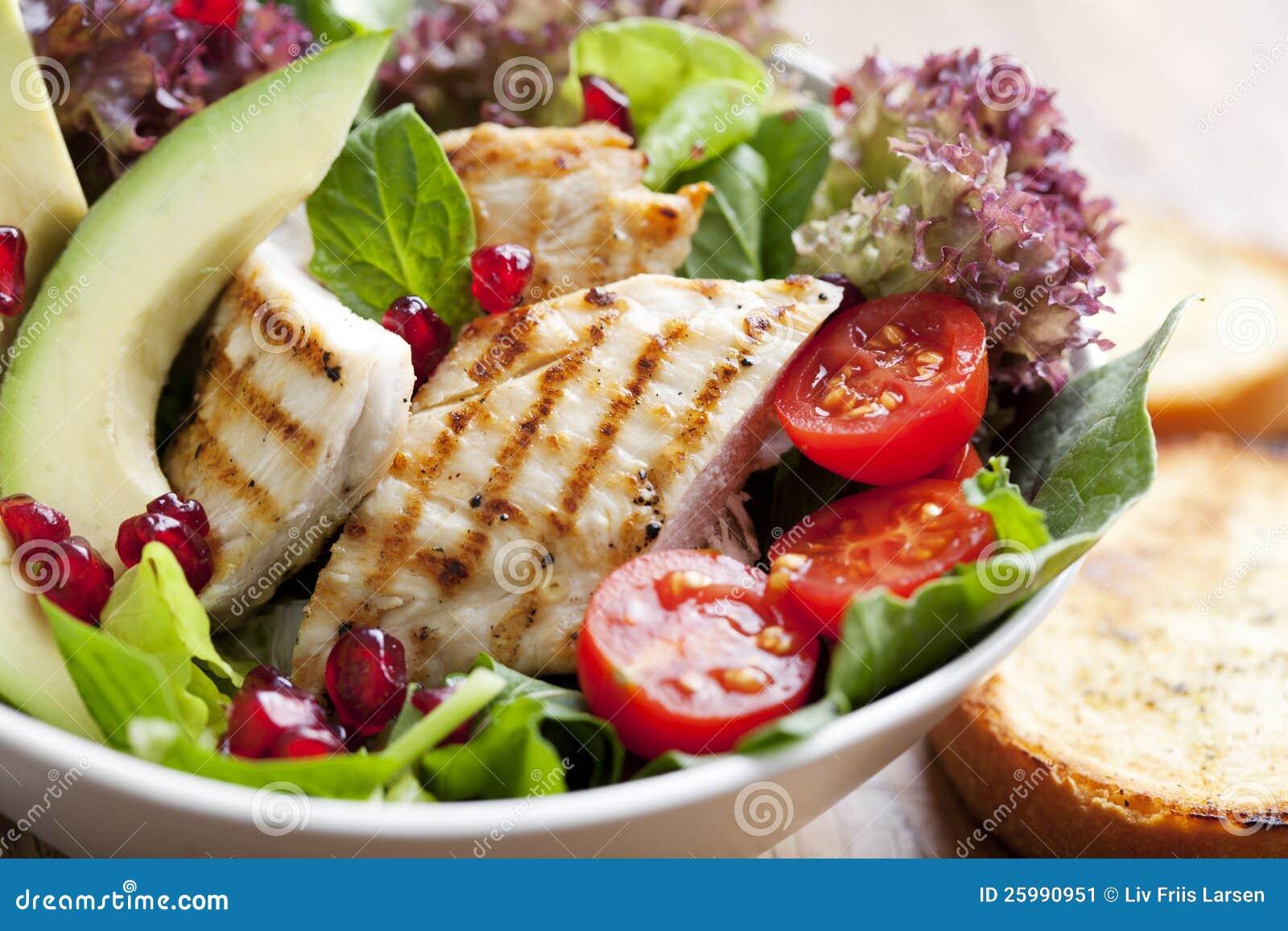 De salade van de kip