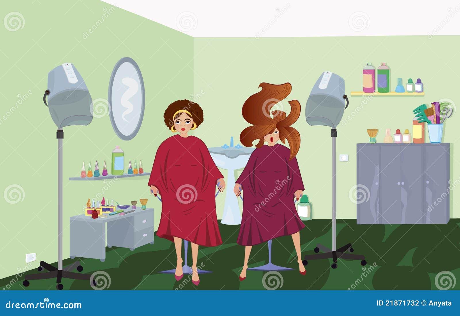 De saloncliënten van de schoonheid in robes