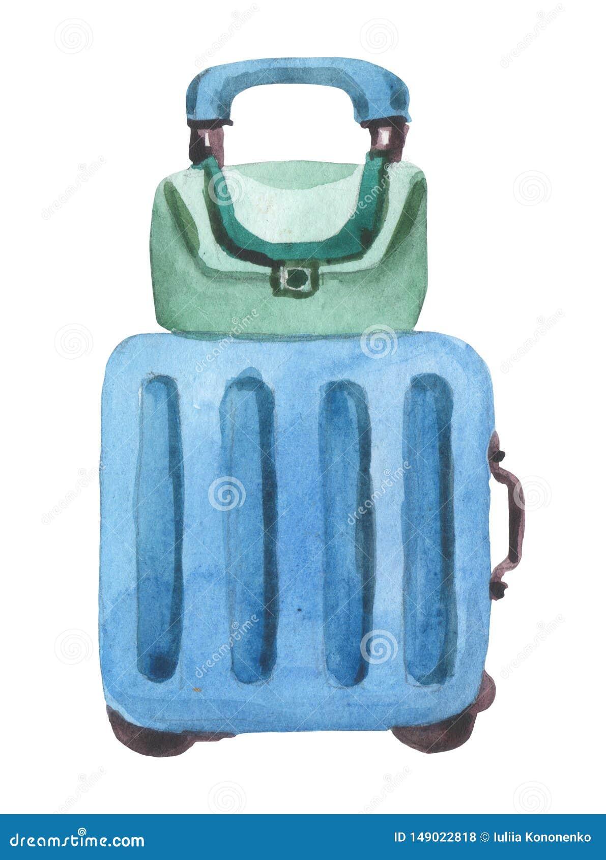 De samenstelling van het waterverfontwerp met een koffer op wielen en handbagage