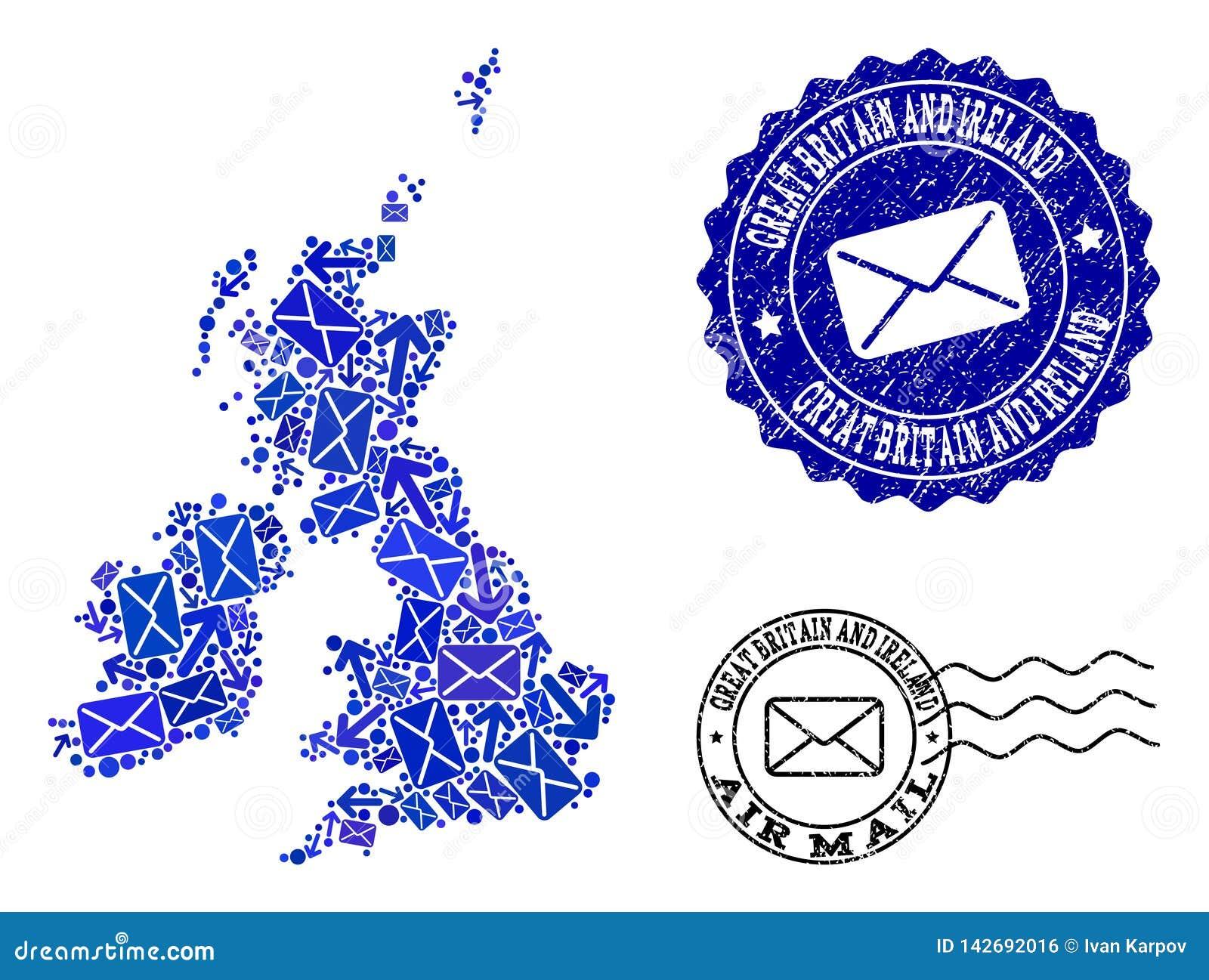 De Samenstelling Van Postroutes Van Mozaïekkaart Van Groot