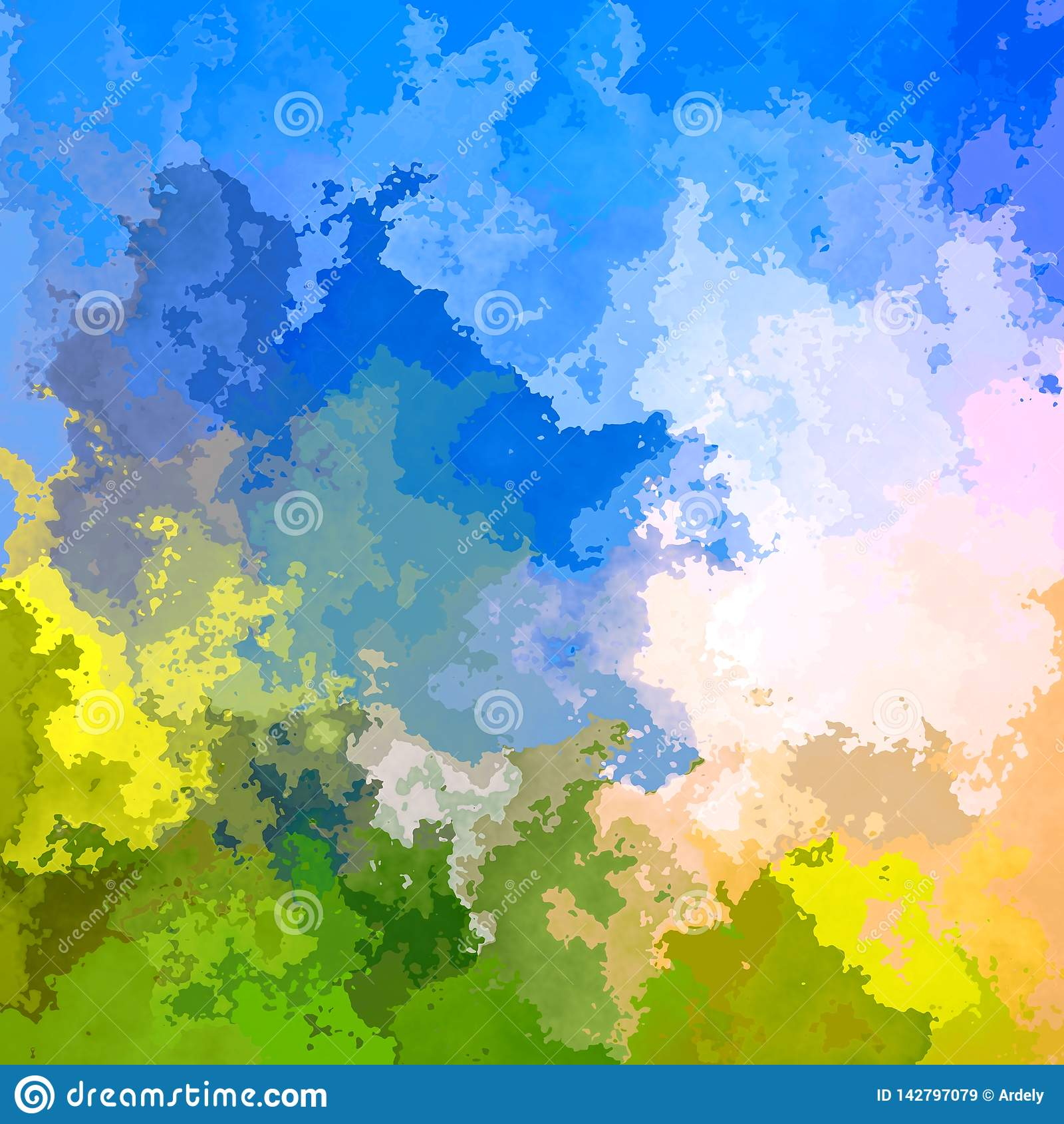 De samenvatting bevlekte vierkante achtergrond groene weide en hemel blauwe kleur - moderne het schilderen kunst - waterverf splo