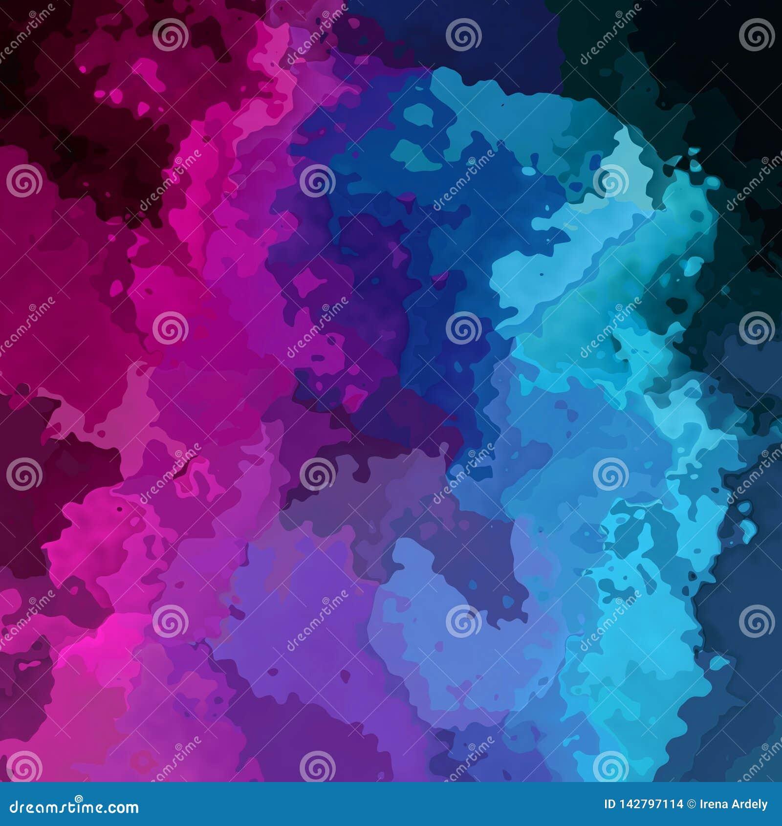 De samenvatting bevlekte vierkante roze magenta purpere violette blauwe zwarte kleur als achtergrond - moderne het schilderen kun