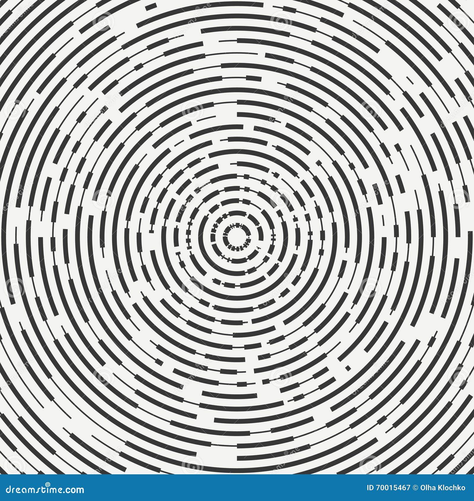 De samenvatting segmenteerde geometrische cirkelvorm Radiale concentrische cirkels Ringen Swirly concentrische gesegmenteerde cir