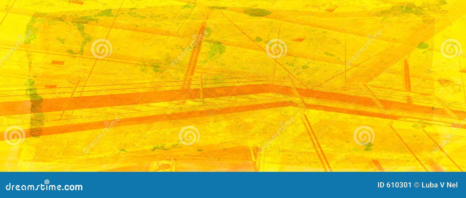 De samenvatting van het station in warme geel op grungeachtergrond