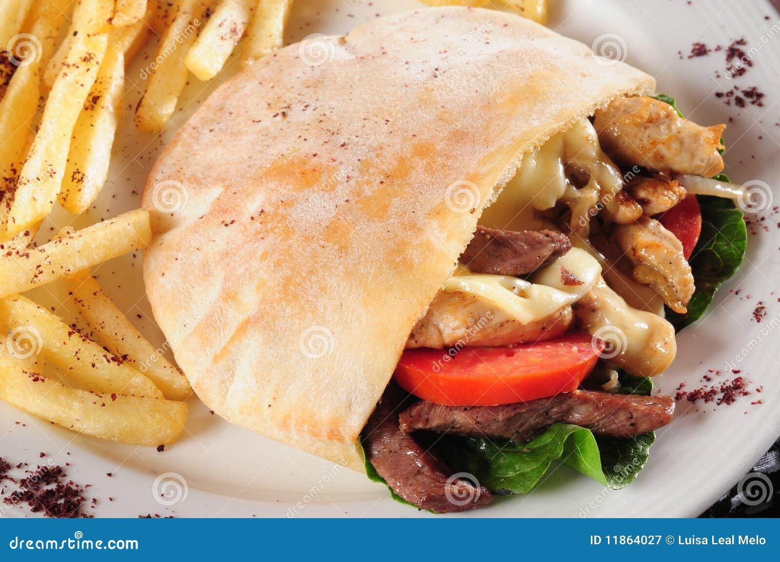 De sandwich van de gyroscoop of van shawarma