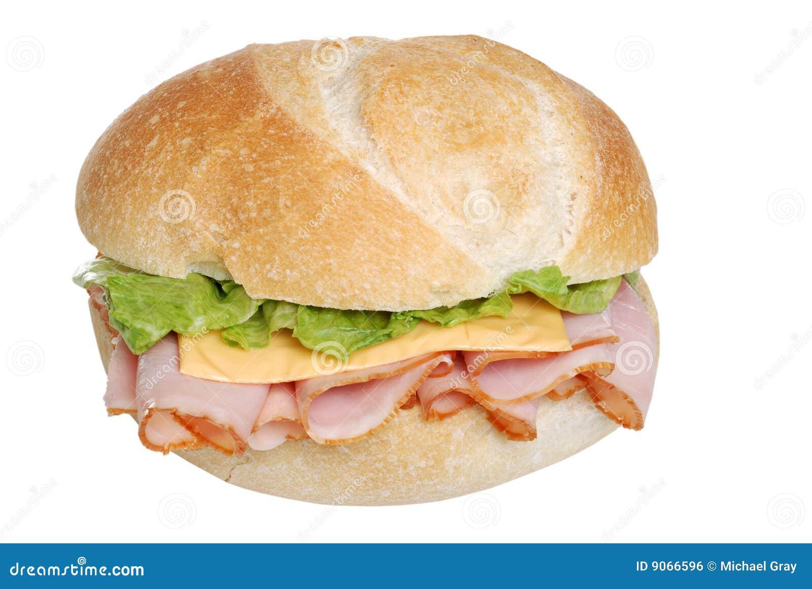 De sandwich van de ham en van de kaas op een geïsoleerdd broodje