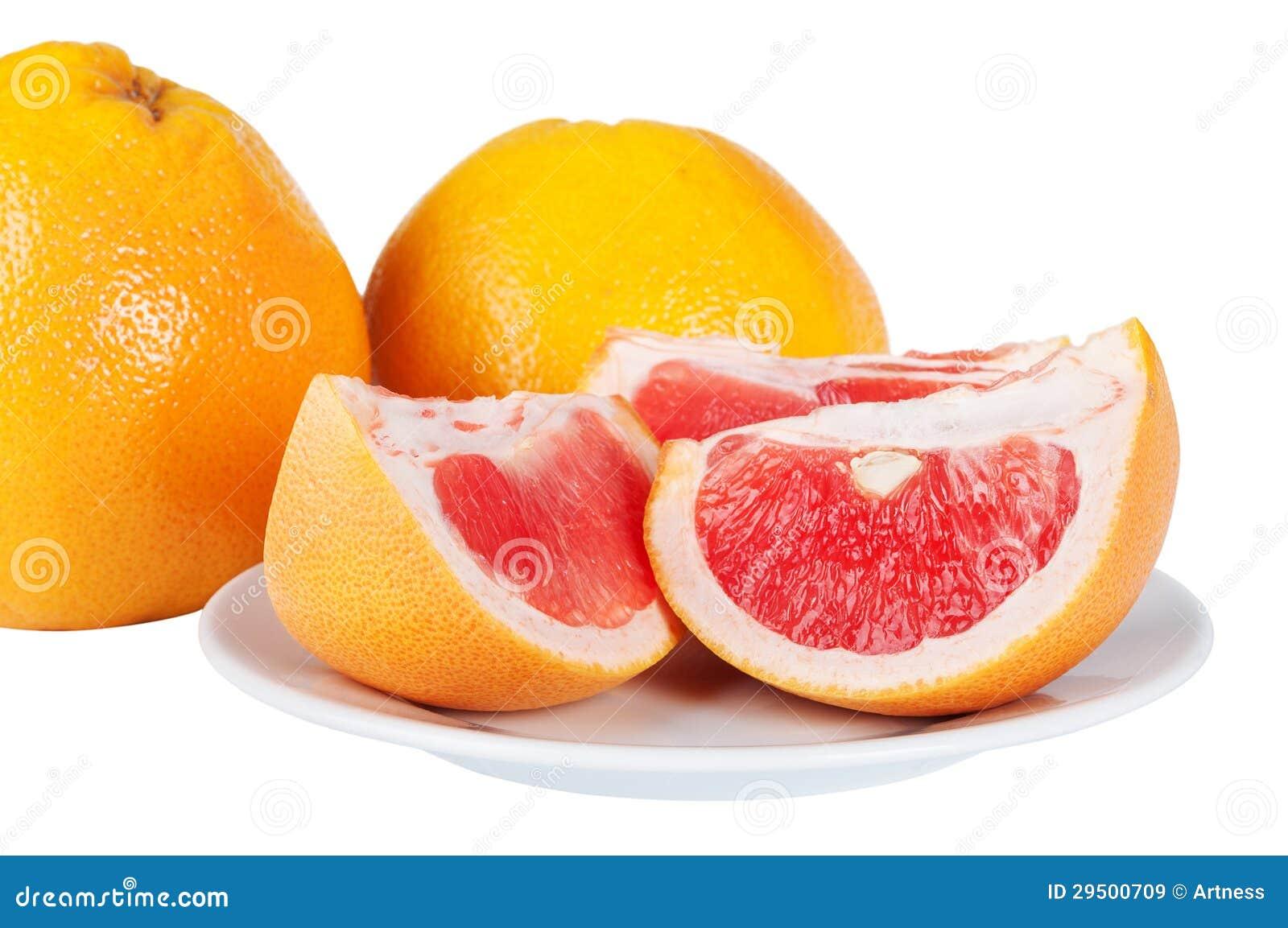 De sappige plakken van de grapefruit