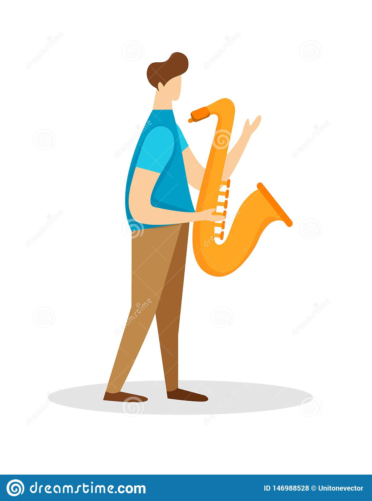 De Saxofoon van musicusmale character playing soloist