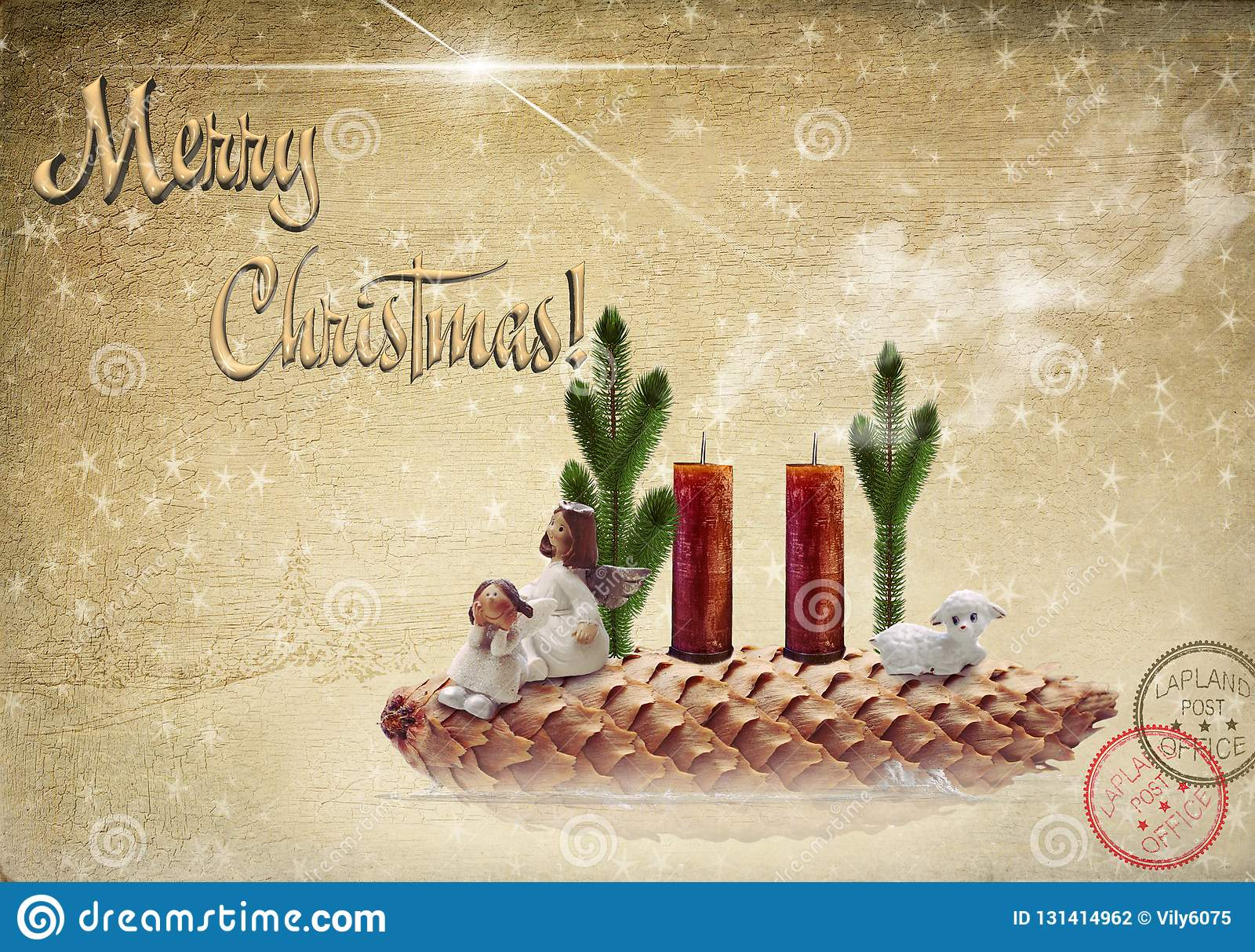 De scène van de geboorte van Christus Twee engelen en een lam op een sparappel
