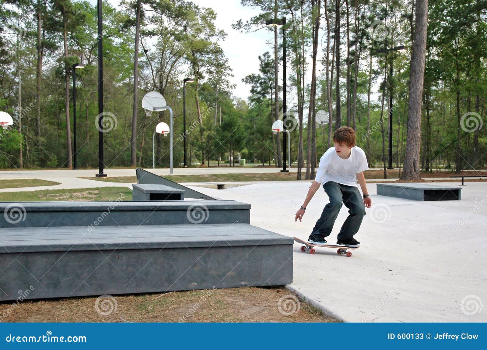 De Schaatser van de tiener bij het Park