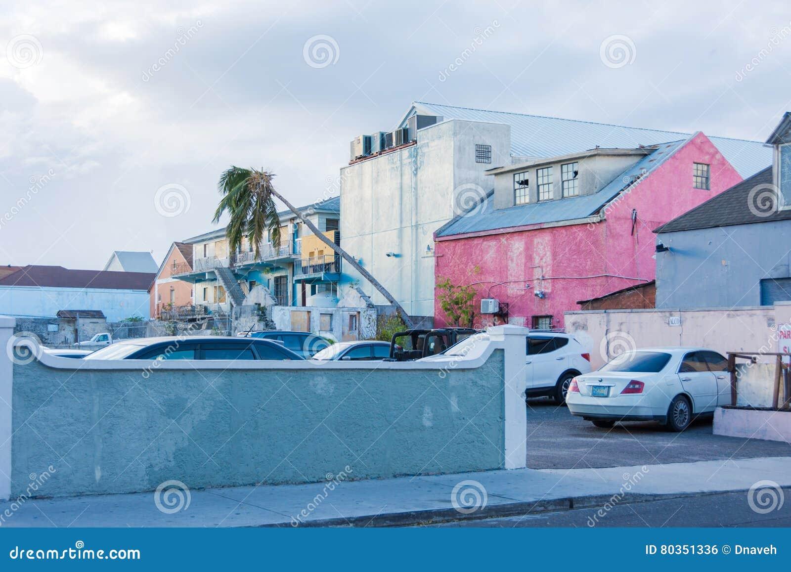 De schade van orkaanmatthew in Nassau, de Bahamas