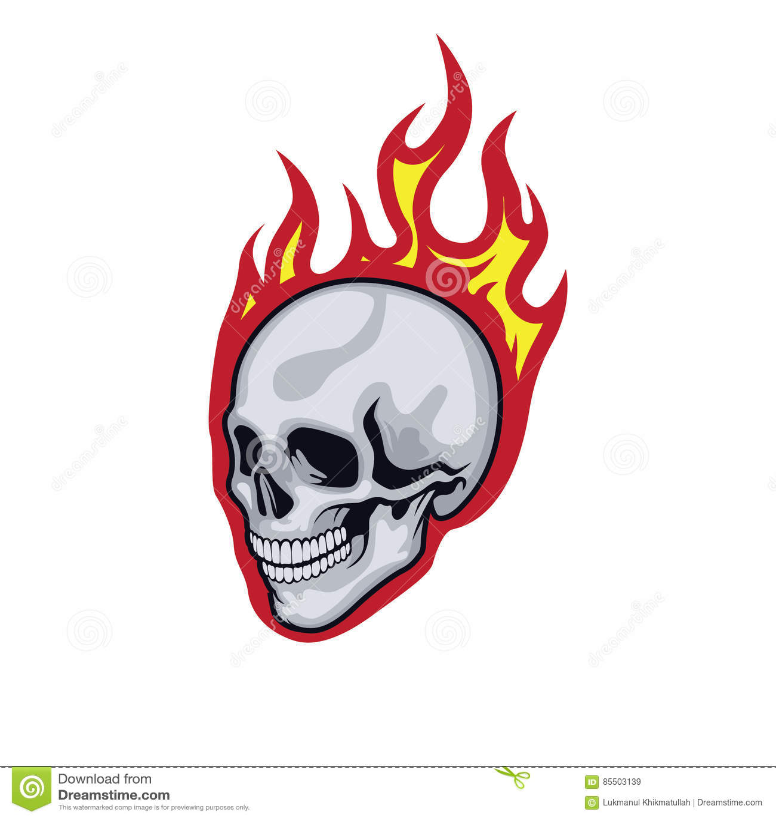 De schedel van vlammen