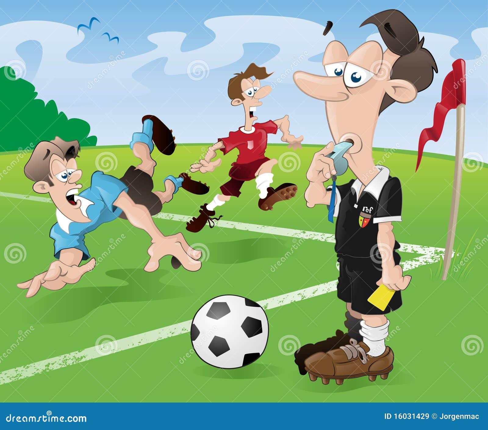 ... Stock Afbeeldingen: De Scheidsrechter en de spelers van de voetbal
