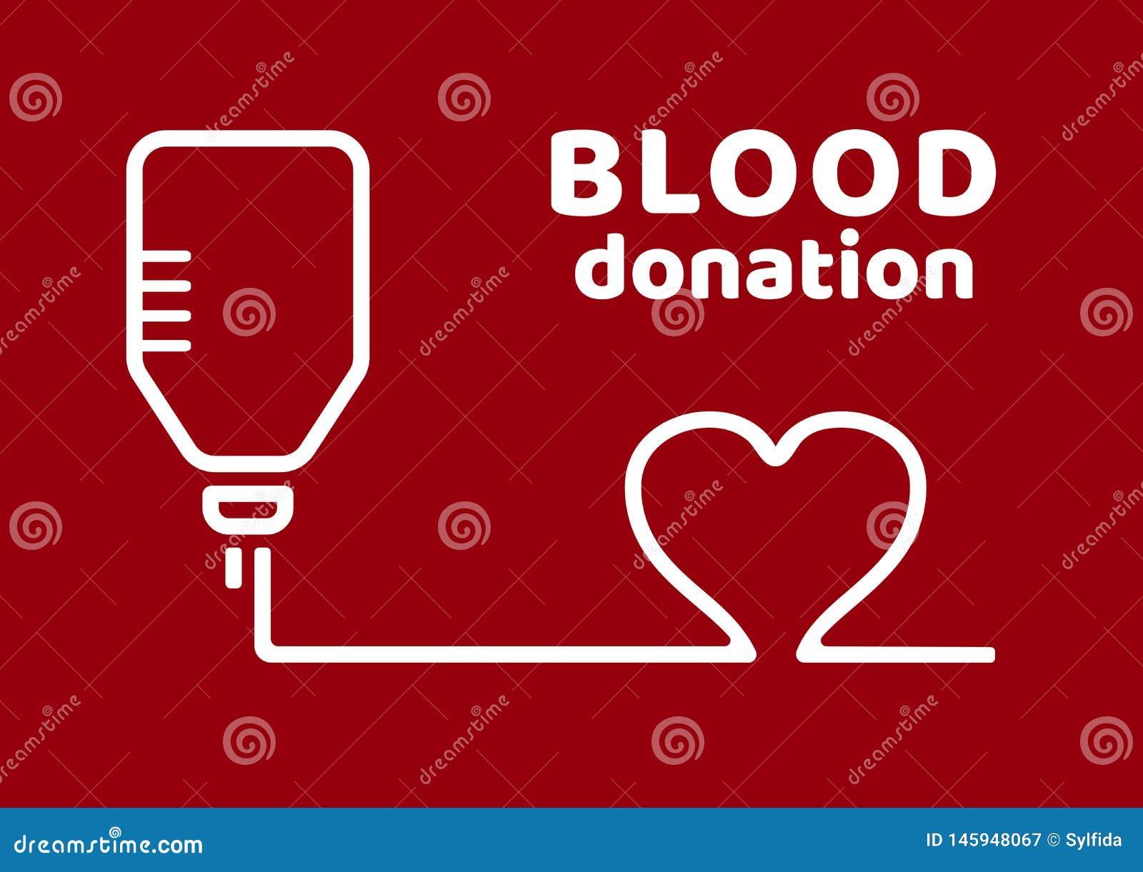 De schenking van het bloed Zwarte en rode affiche op de Dag van de WereldBloedgever Vector