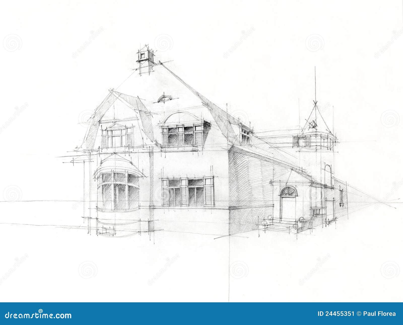 De schets oud huis van het potlood op witboek stock afbeelding afbeelding 24455351 - Huis van de cabriolet ...
