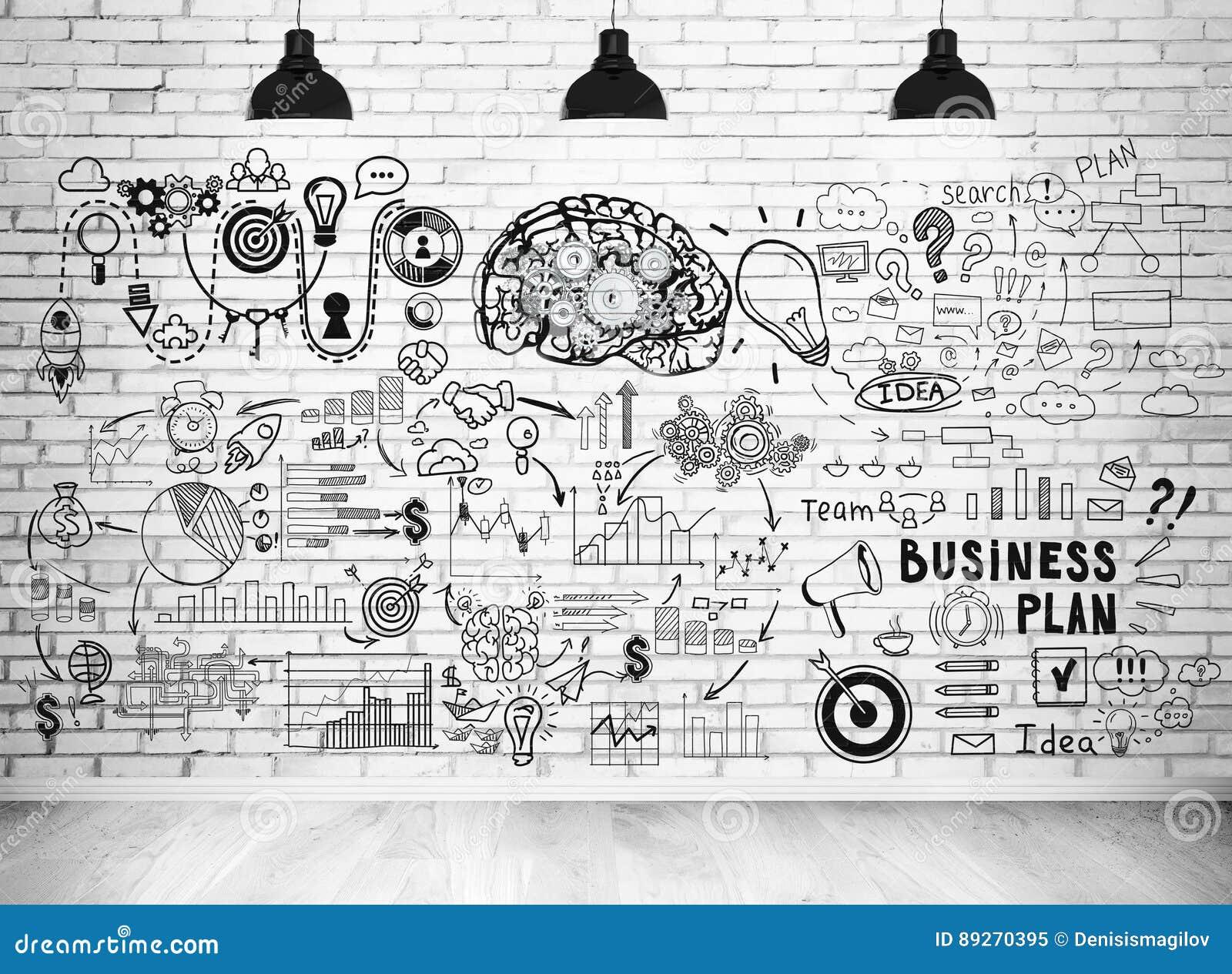 De schets van het businessplan op een bakstenen muur
