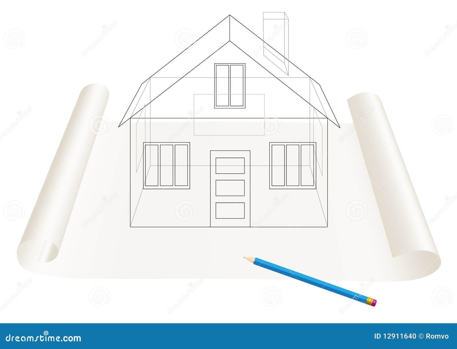 De schets van het huis stock foto afbeelding 12911640 - Ingang van het hedendaagse huis ...