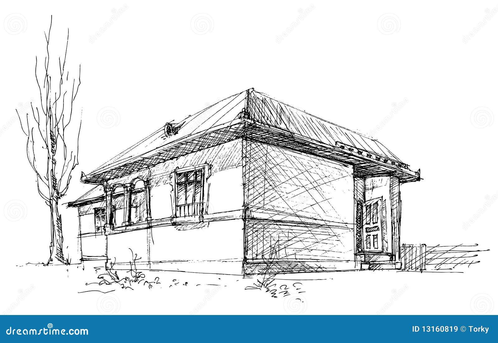 De schets van het huis vector illustratie afbeelding for Huizen tekenen