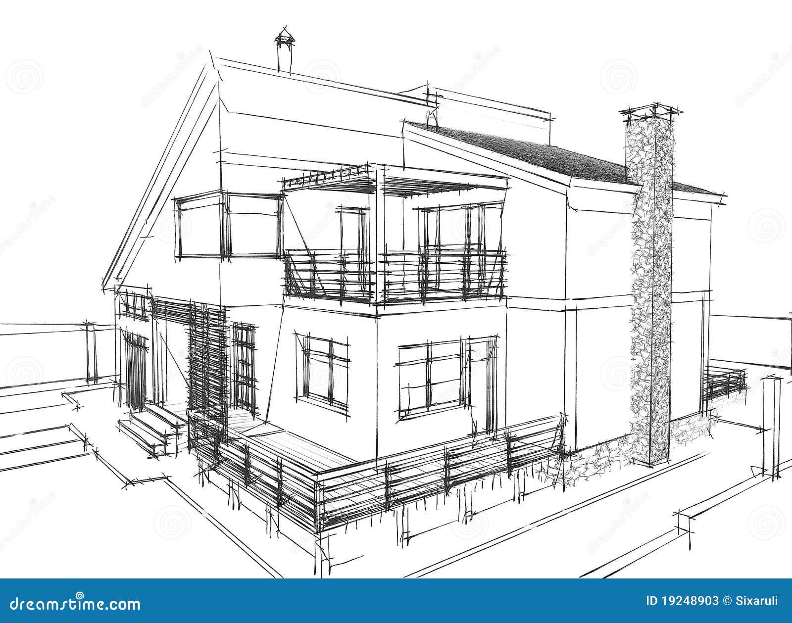 de schets van het huis stock foto 39 s beeld 19248903. Black Bedroom Furniture Sets. Home Design Ideas