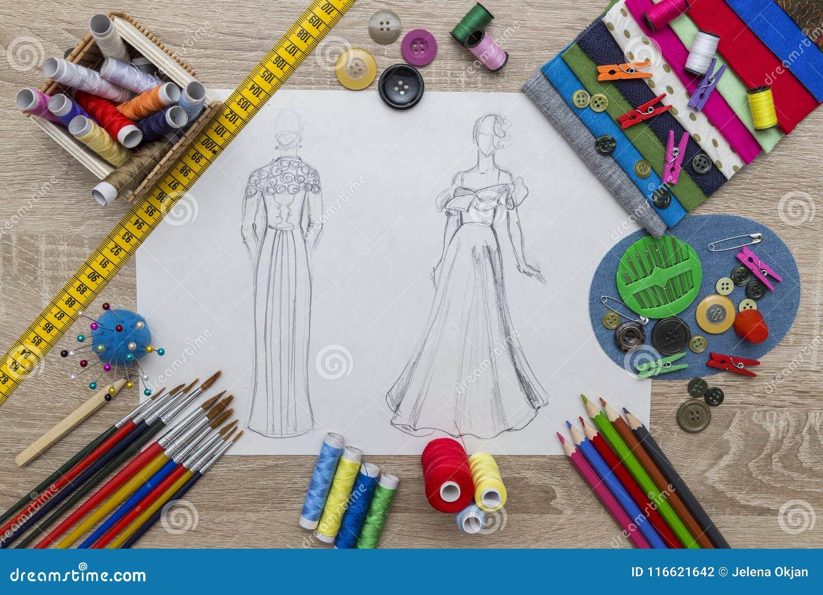 De schets van het manierontwerp - naaister Table