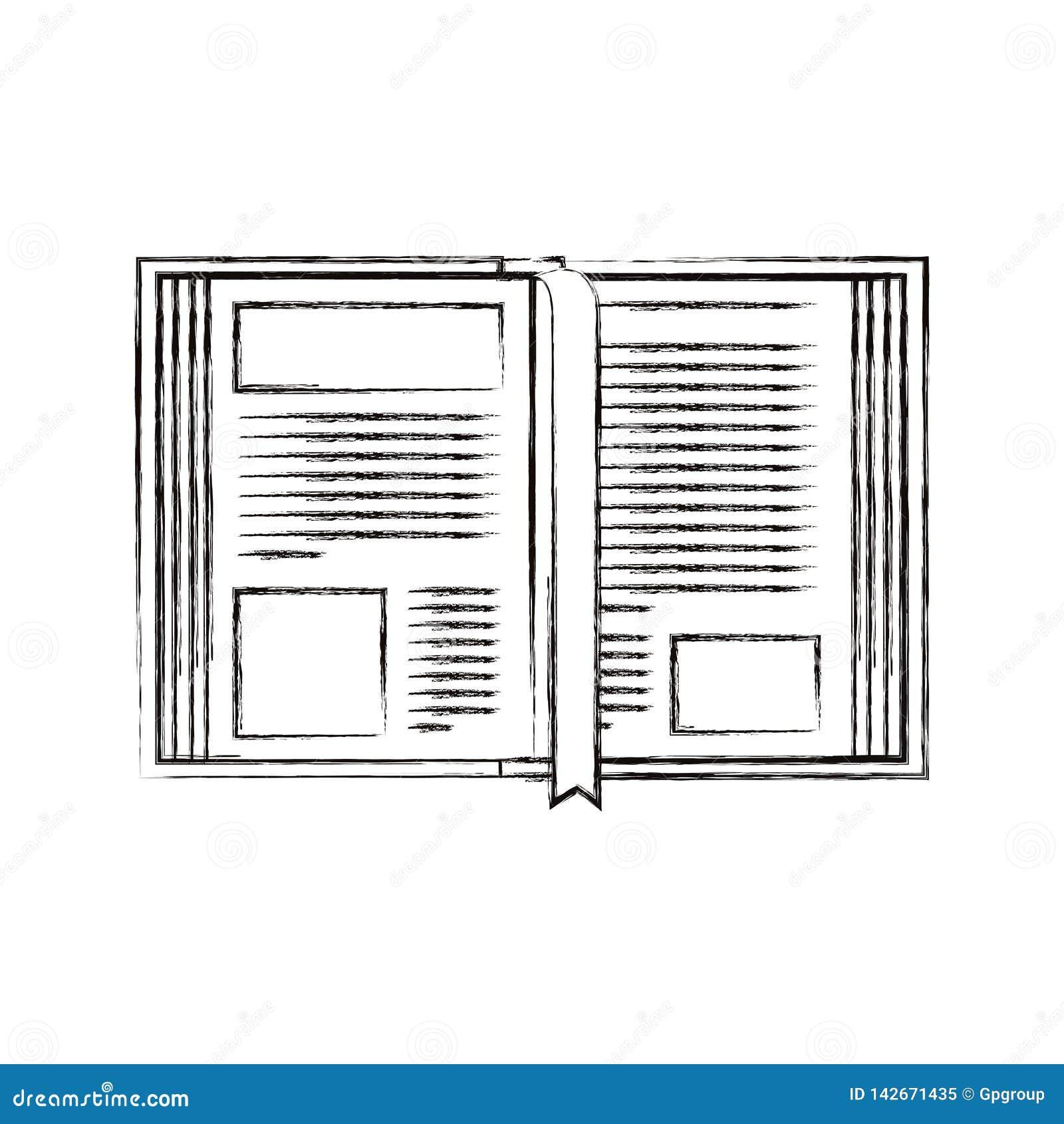 De schets vertroebelde het open boek van het silhouetbeeld met referentie
