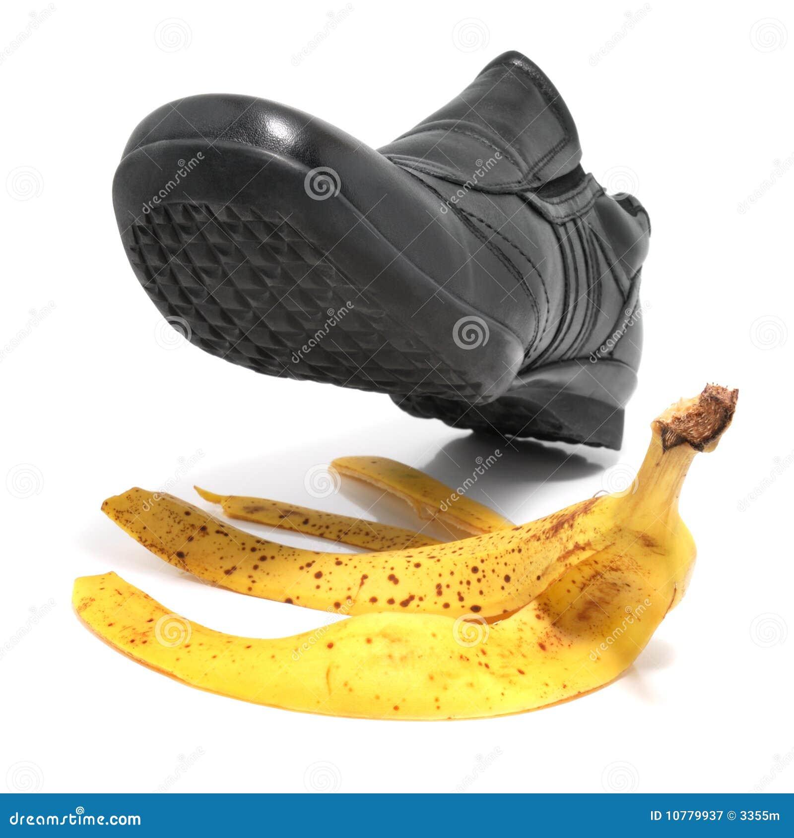 De schil en de schoen van de banaan