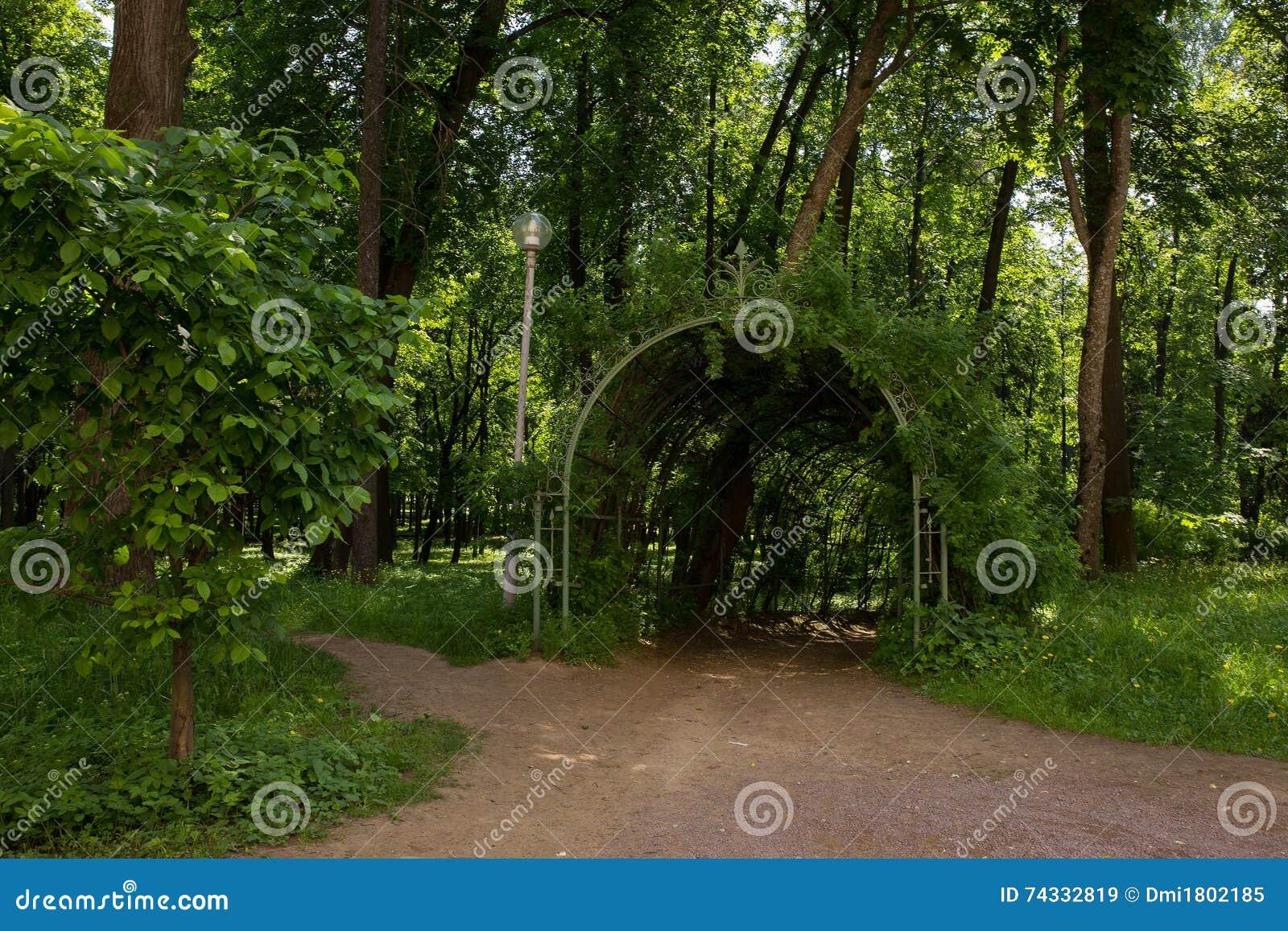 De schilderachtige ingang in overspannen gang tuinpergola van