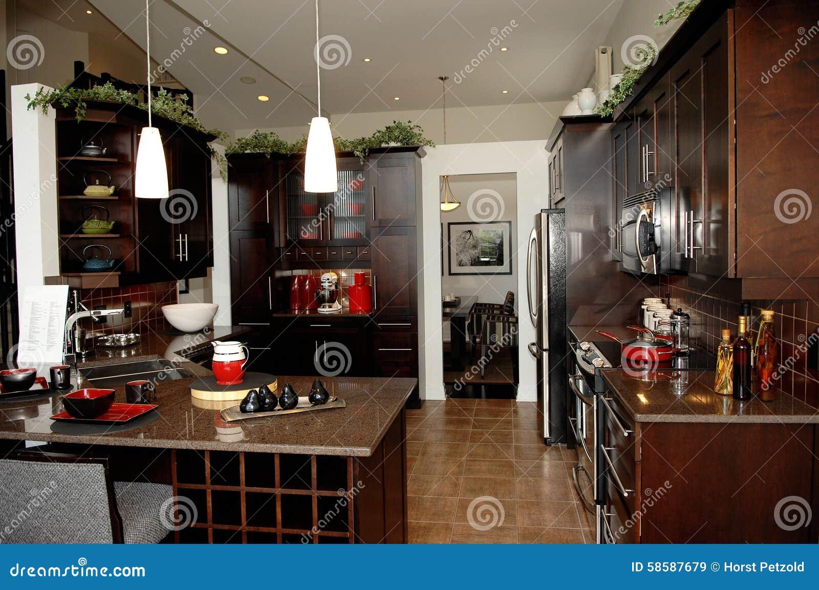 Huis Donker Hout : De schitterende keuken met donker hout eindigt stock afbeelding