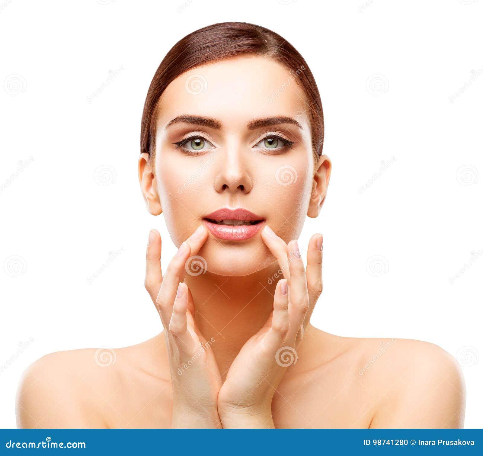 De Schoonheid van vrouwenlippen, de Natuurlijke Make-up van de Gezichtszorg, Meisje wat betreft Mond