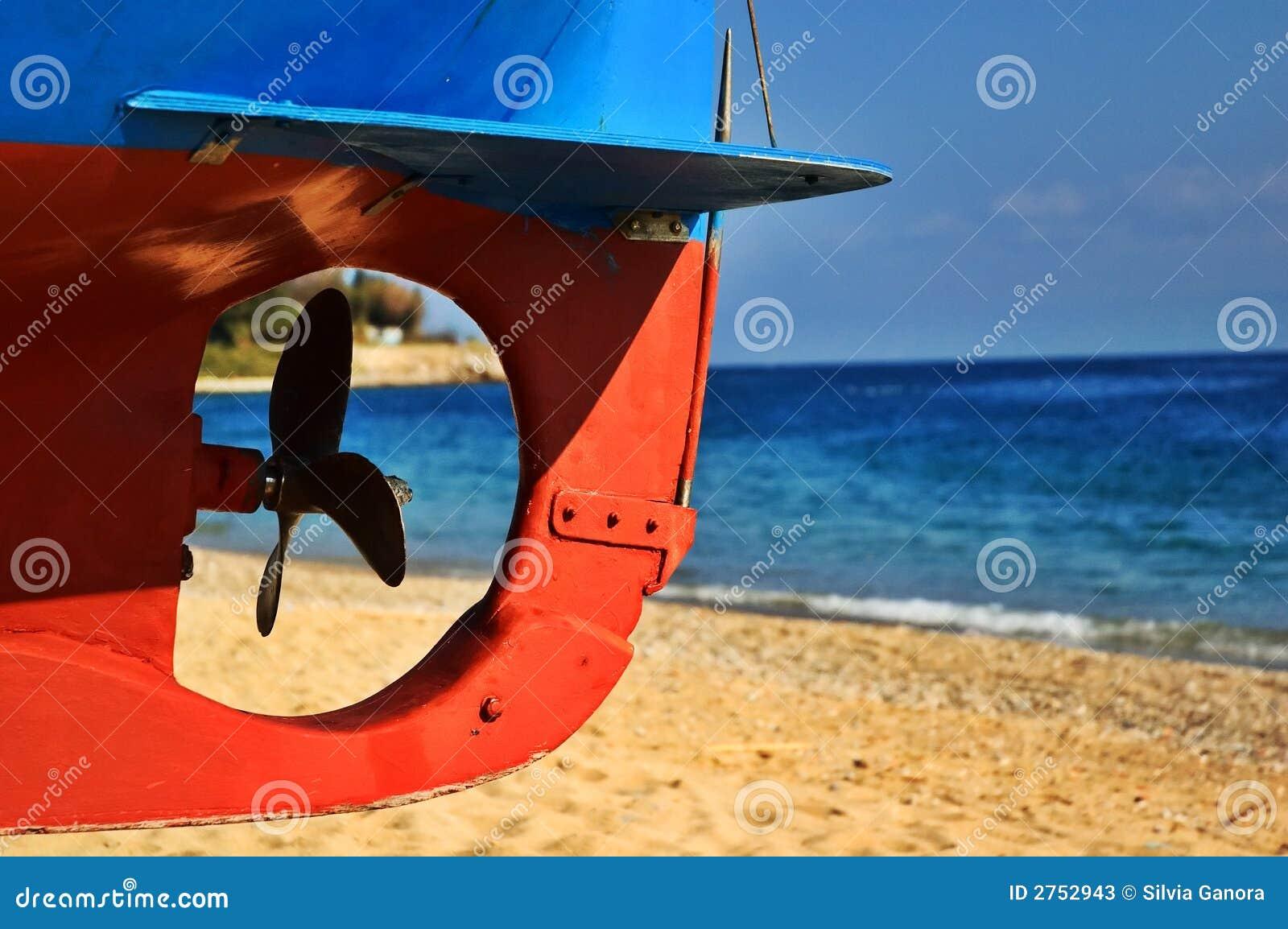 De schroef van de boot