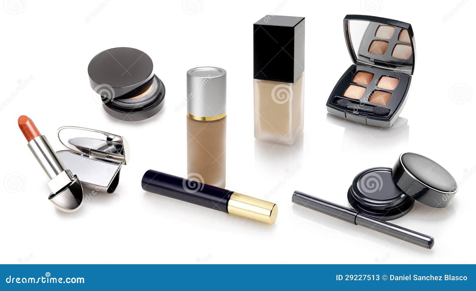 De selectie van make-upn en van schoonheidsmiddelen