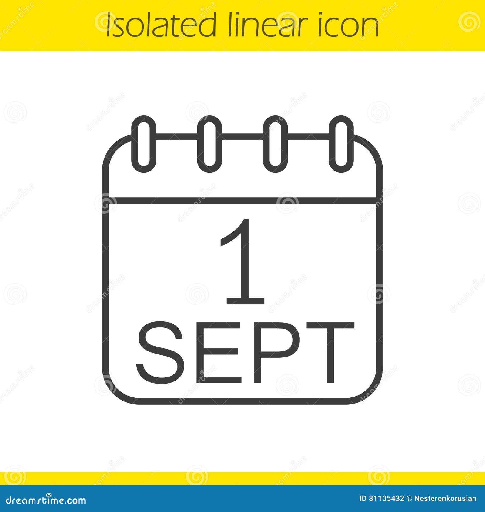 Calendario Dibujo Septiembre.1 De Septiembre Icono Linear Ilustracion Del Vector