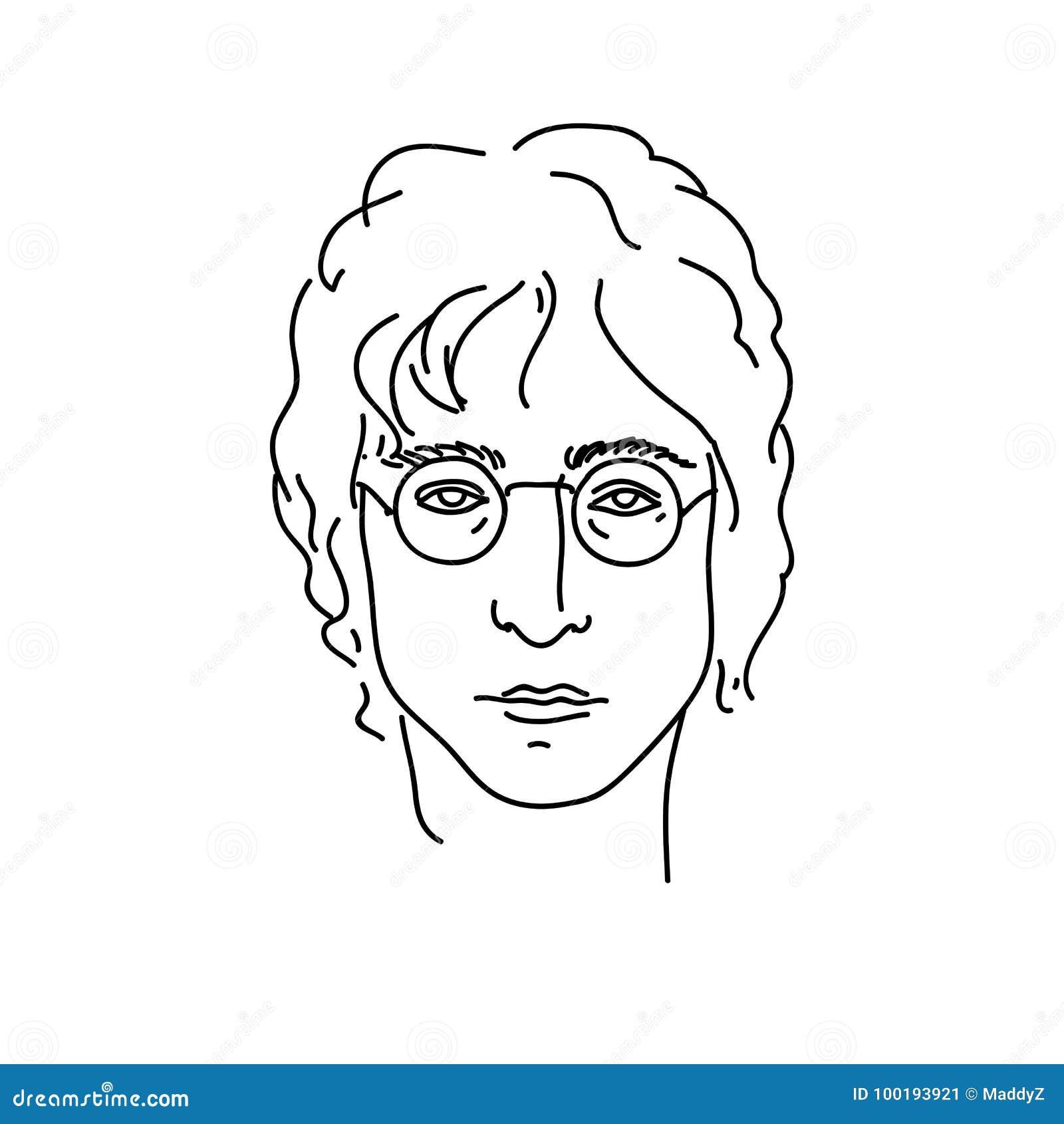 19 de septiembre de 2017: Retrato creativo de John Lennon, músico de Beatles Línea ejemplo del vector del arte