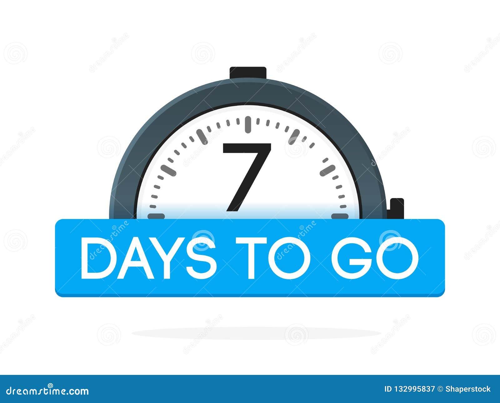 De siete días para ir etiqueta, plano del despertador con la cinta azul, icono de la promoción, el mejor illustretion del vector
