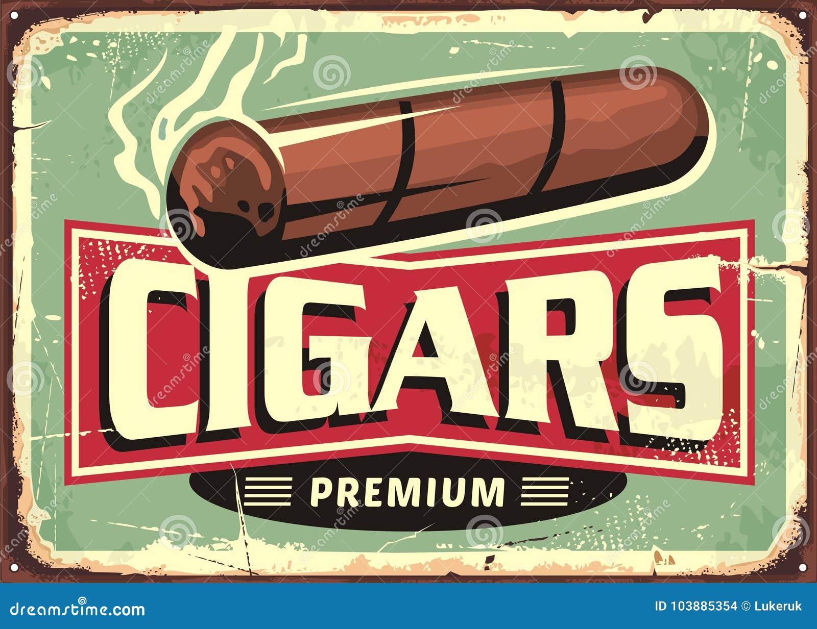 De sigaren winkelen retro malplaatje van het tekenontwerp