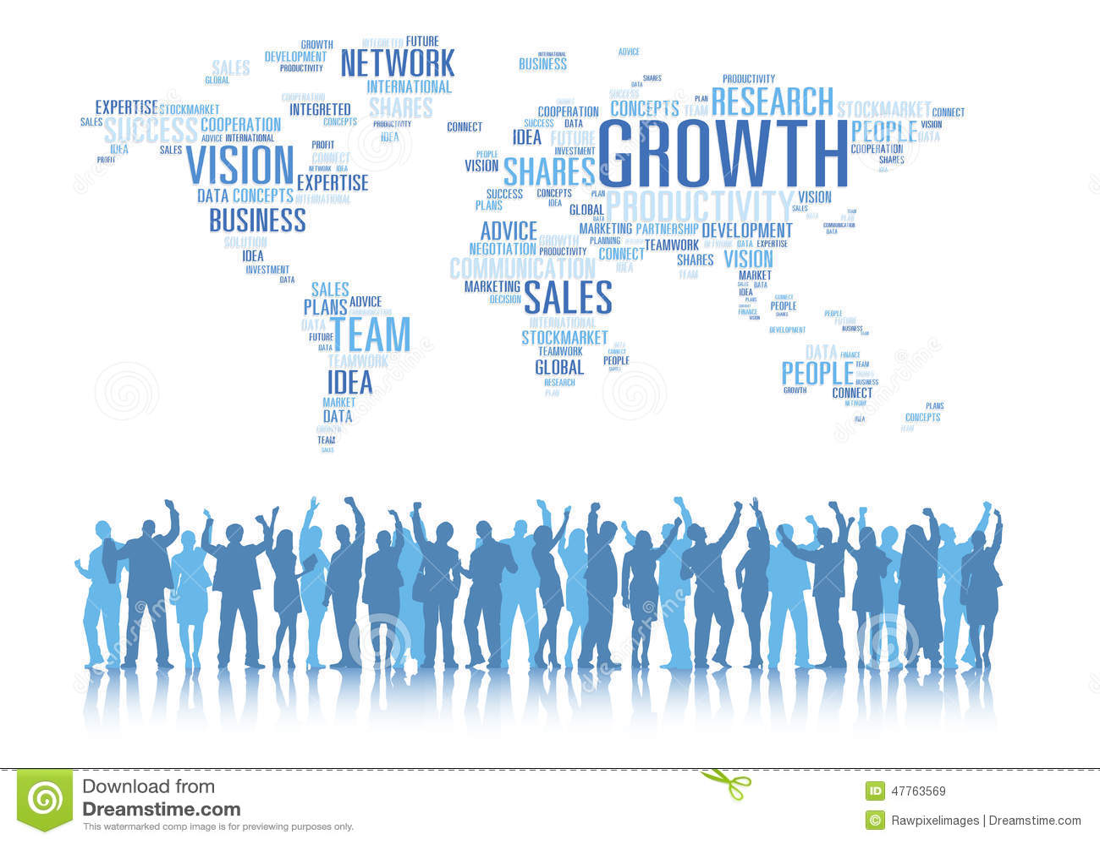 De silhouetten van Bedrijfsmensen bewapent Opgeheven en Globale Zaken C