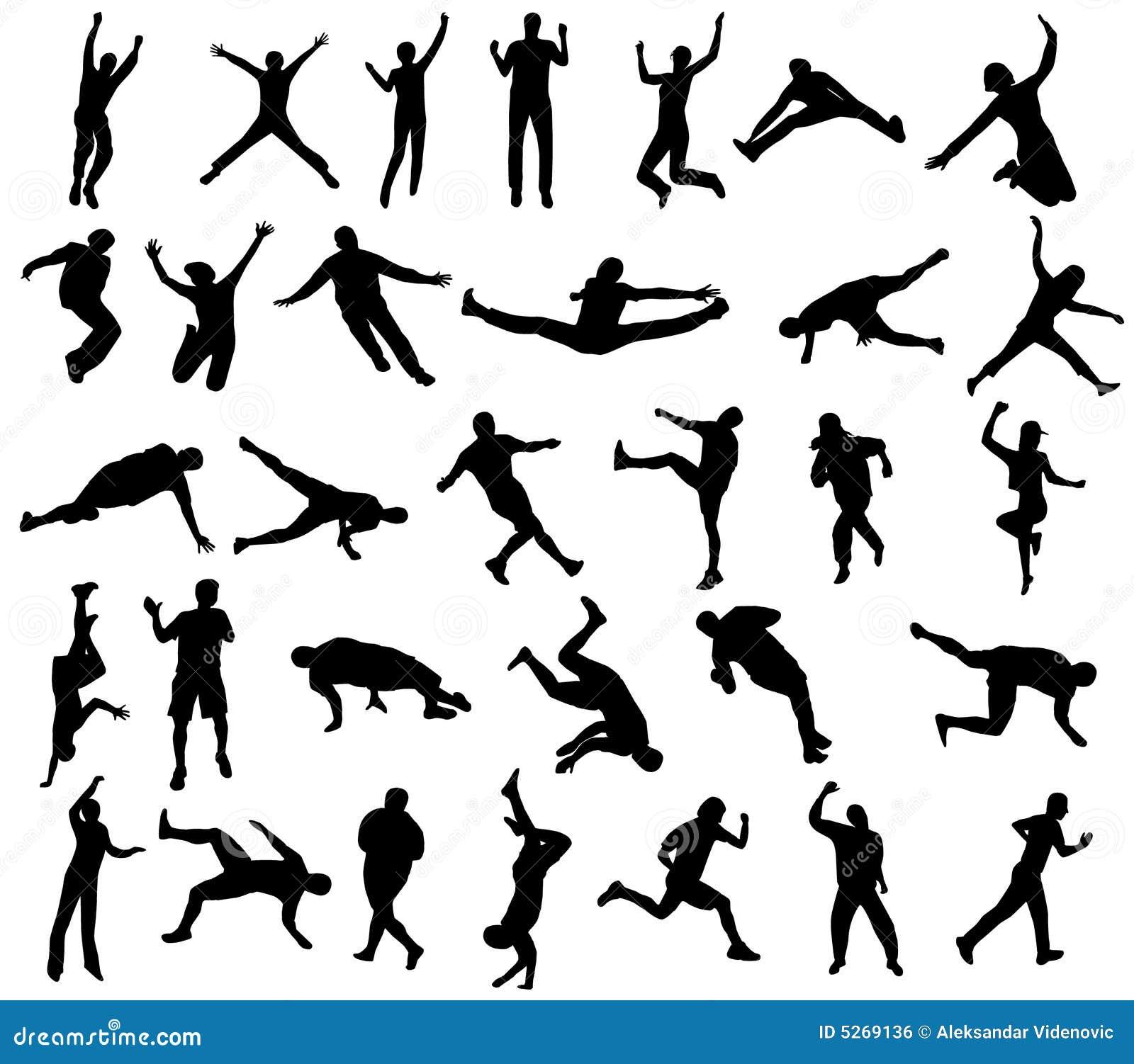 De silhouetten van de sport
