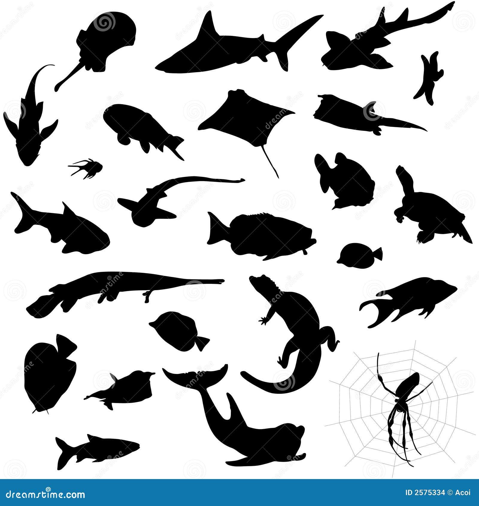 De silhouetten van het aquarium