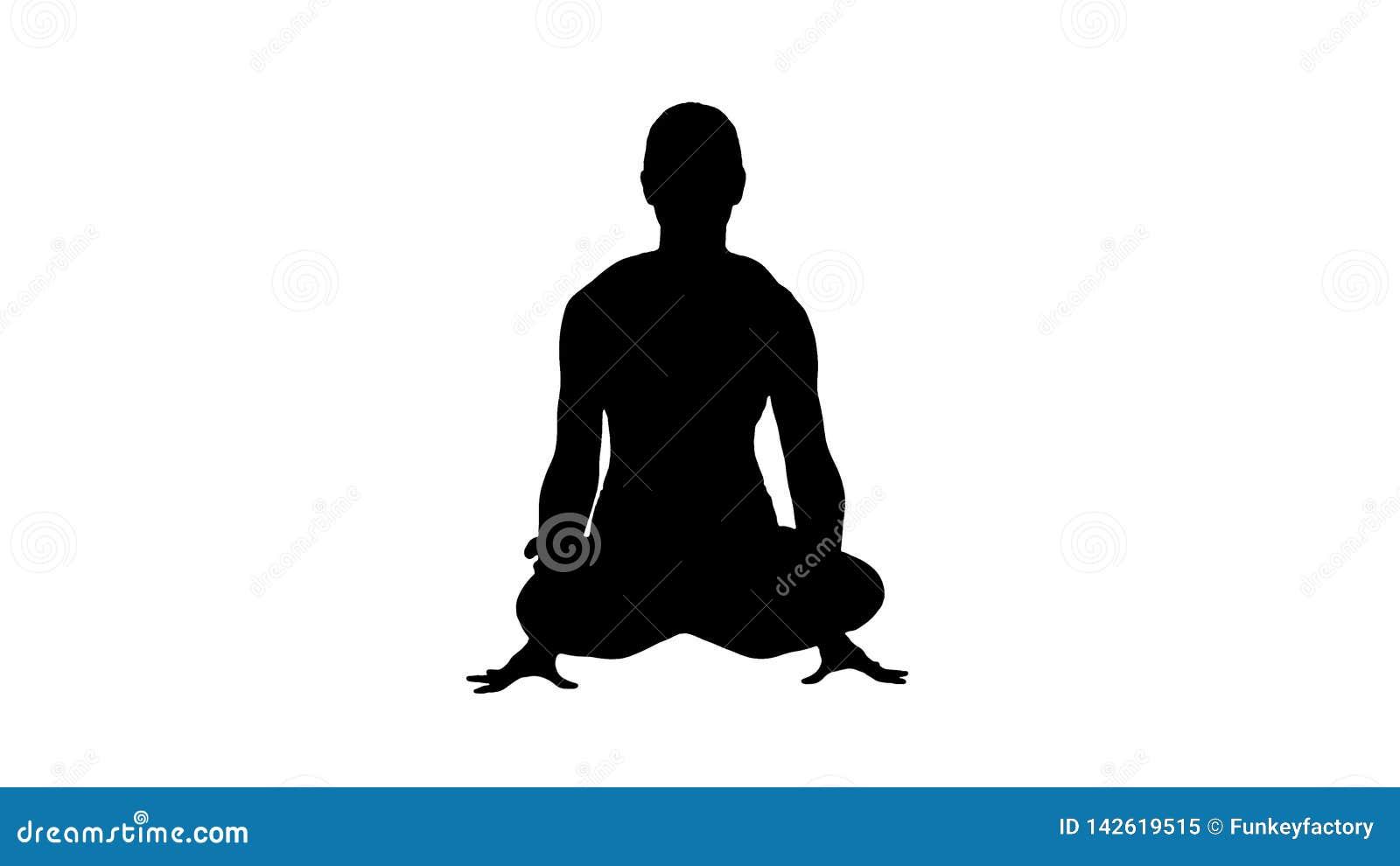 De silhouettolasana of schaal stelt Mooie woman do yoga de lifthouding van het zittingswapen