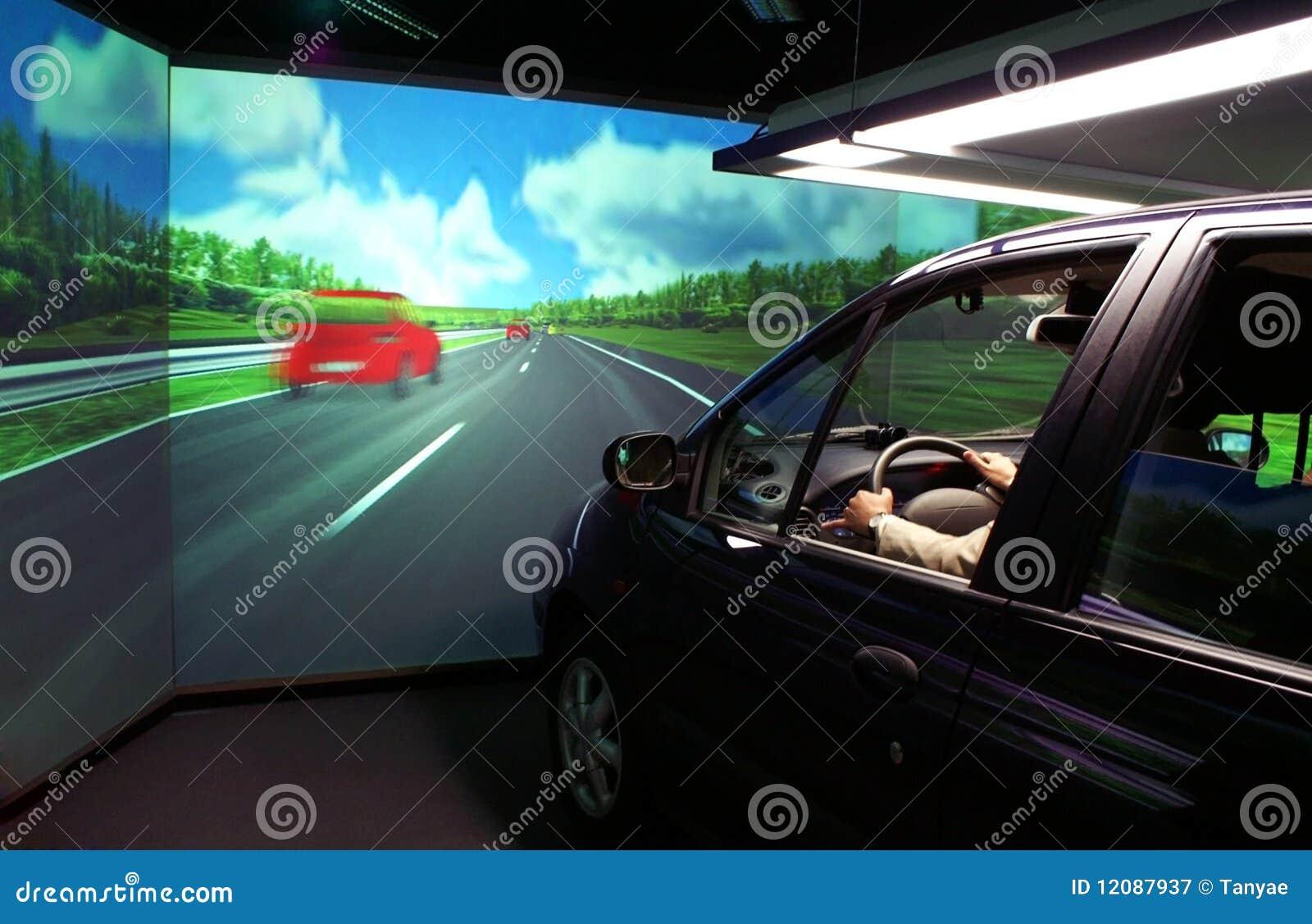 De simulator van de auto voor ergonomieonderzoek