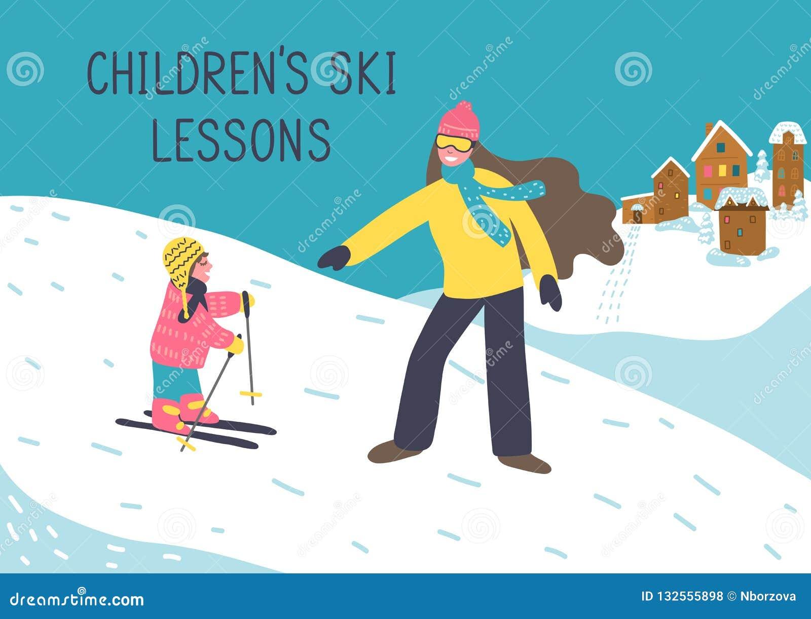 De skilessen van kinderen Moeder of vrouwen de instructeur onderwijst kind om te skien