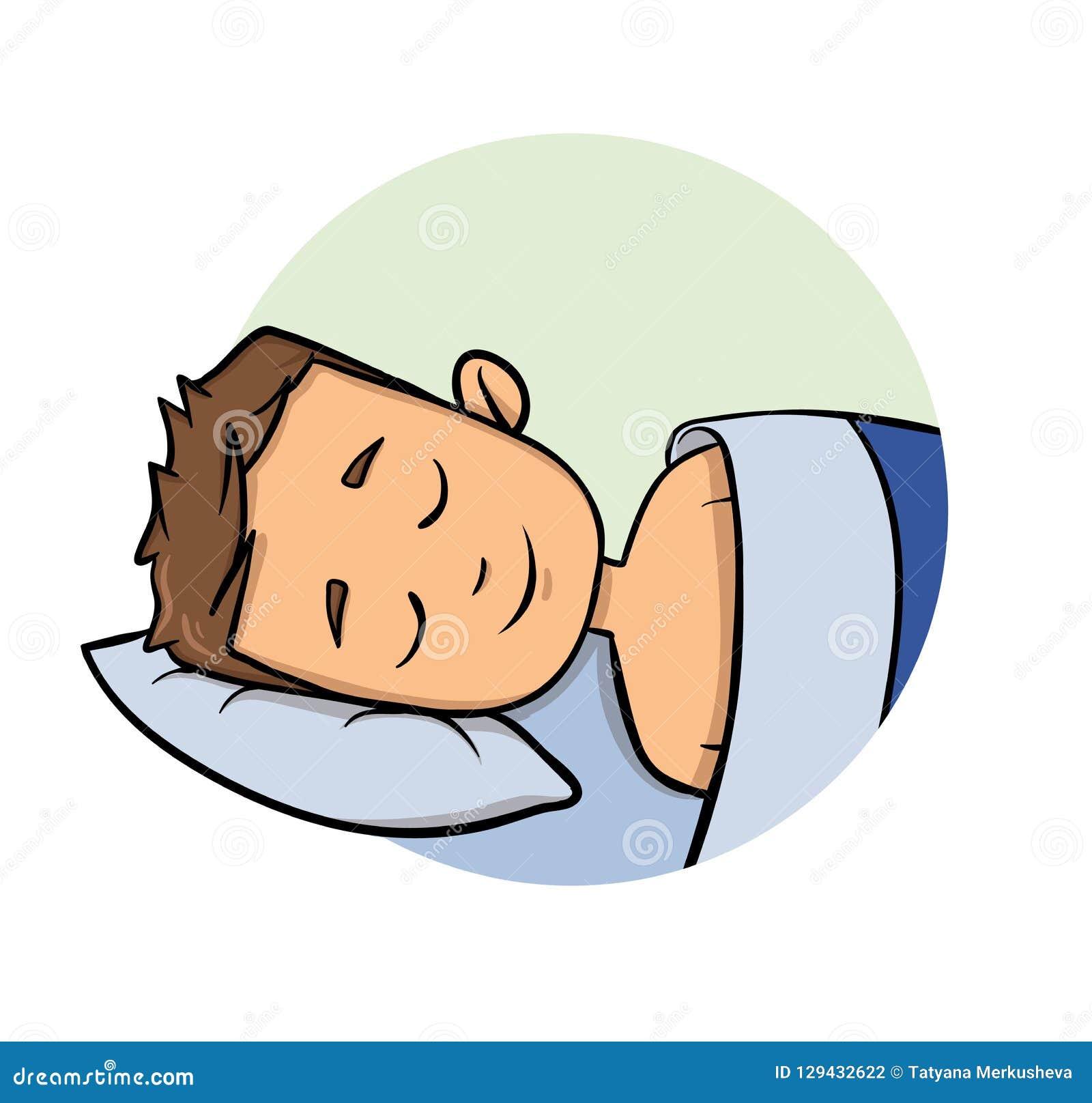 De slaap van de beeldverhaal jonge mens in een bed Het pictogram van het beeldverhaalontwerp Vlakke vectorillustratie Geïsoleerdj