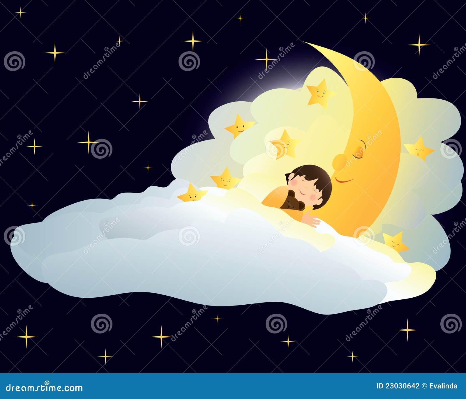 De slaap van de jongen op de maan vector illustratie afbeelding 23030642 - Opslagkast ruimte van de jongen ...