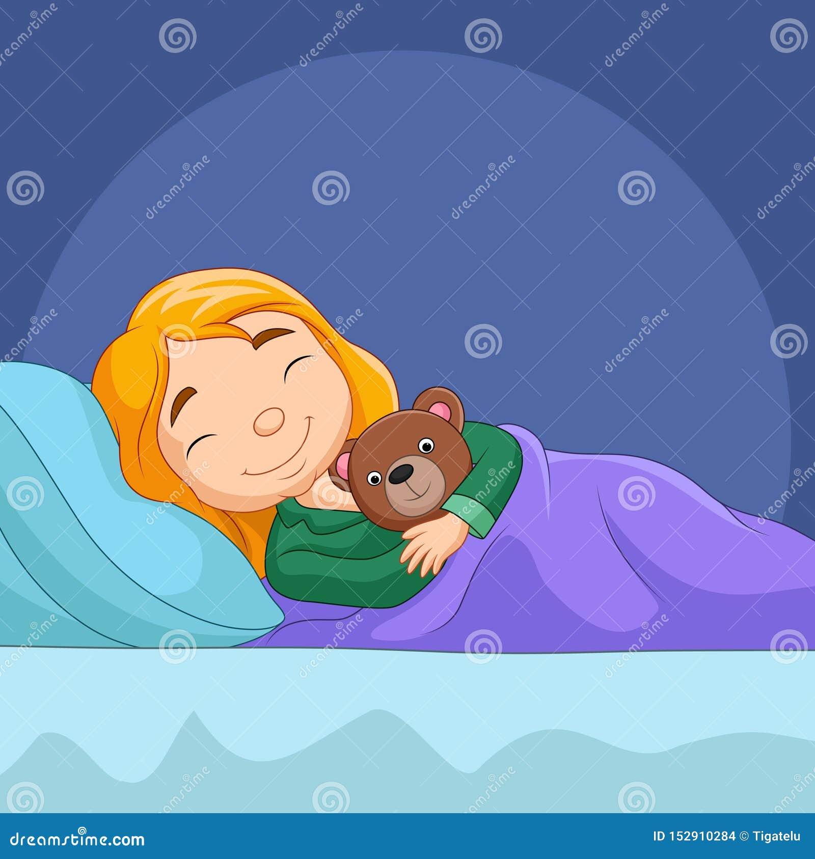 De slaap van het beeldverhaalmeisje met gevuld draagt