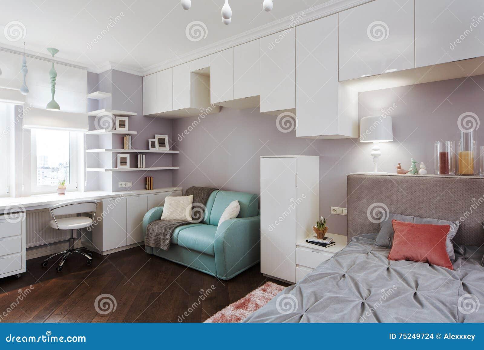 Slaapkamer Lamp Kind : De slaapkamer van binnenlandse lichte kinderen met een groot bed