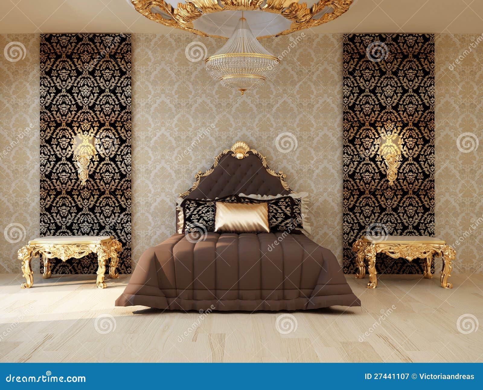 De slaapkamer van de luxe met gouden meubilair royalty vrije stock ...