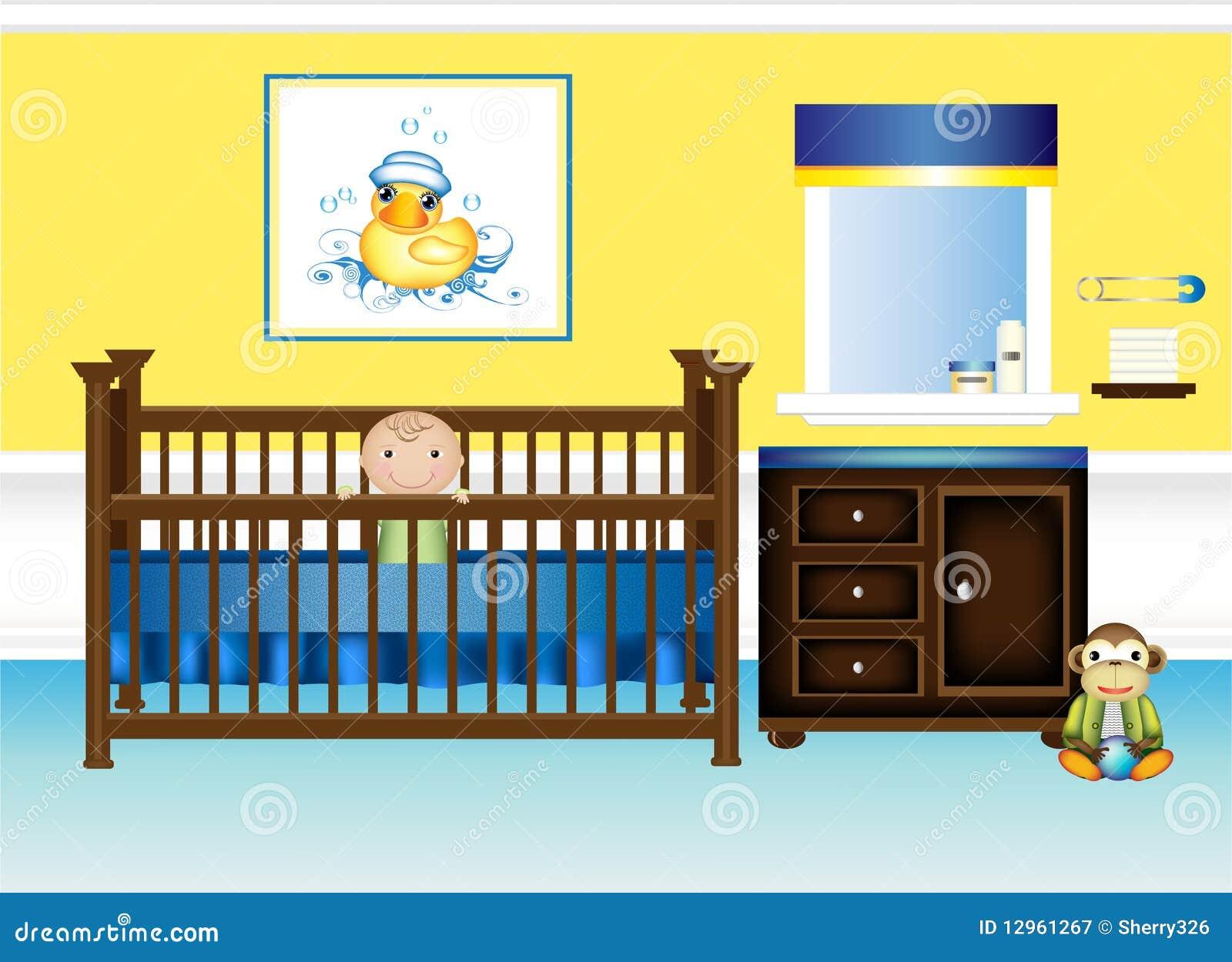 De slaapkamer van het kinderdagverblijf van de baby in geel en blauw vector illustratie - Baby slaapkamer ...