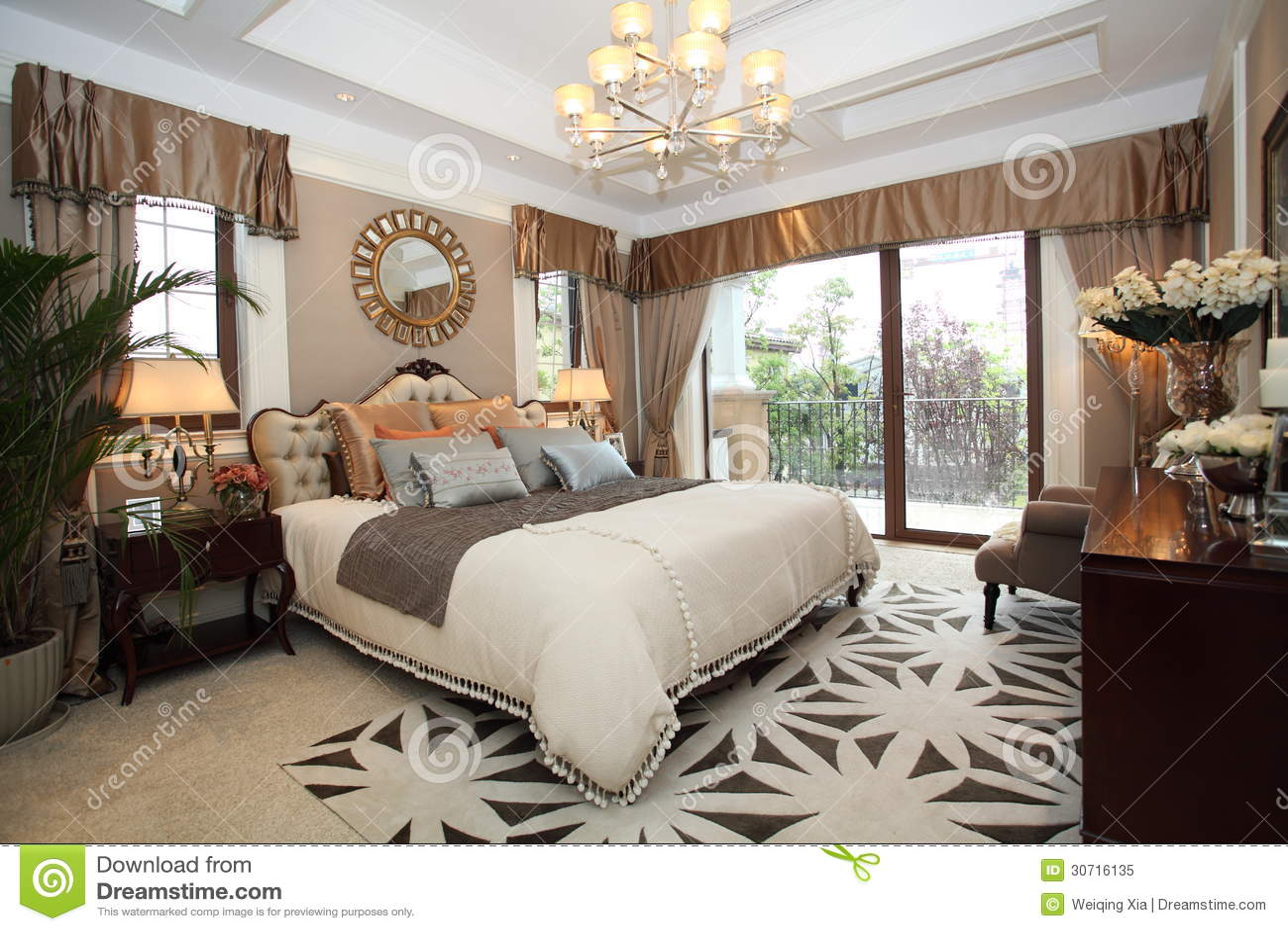 De slaapkamer van het luxehuis